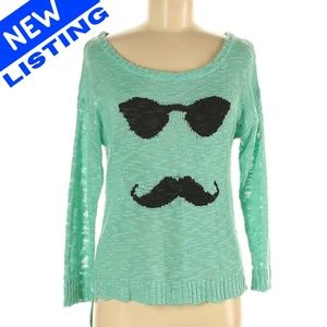 M Turquoise Mustache High Low Knit Sweater